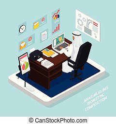 Arab Muslim At Workplace Composition - Isometric composition...