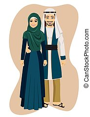 Arab muslim couple man and woman standing