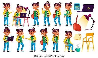 Arab, Muslim Girl Kid Poses Set Vector. High School Child. Teenage. Beauty, Lifestyle, Friendly. For Web, Poster, Booklet Design. Isolated Cartoon Illustration