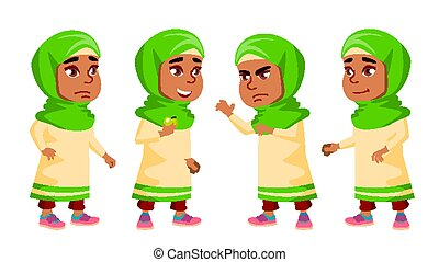 Arab, Muslim Girl Kindergarten Kid Poses Set Vector. Friendly Little Children. Cute, Comic. For Web, Brochure, Poster Design. Isolated Cartoon Illustration