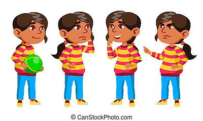 Arab, Muslim Girl Kindergarten Kid Poses Set Vector. Preschool. Young Person. Cheerful. For Web, Brochure, Poster Design. Isolated Cartoon Illustration