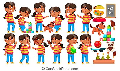 Arab, Muslim Girl Kindergarten Kid Poses Set Vector. Preschooler Playing. Friendship. For Web, Poster, Booklet Design. Isolated Cartoon Illustration