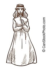 Arab muslim man in traditional clothing isolated sketch...