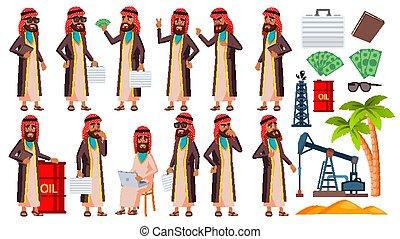 Arab, Muslim Old Man Poses Set Vector. Elderly People. Oil ...