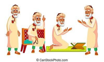 Arab, Muslim Old Man Poses Set Vector. Elderly People. ...