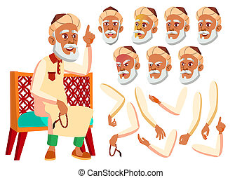 Arab, Muslim Old Man . Senior. Aged, Elderly People. Positive Person. Face Emotions, Various Gestures. Illustration