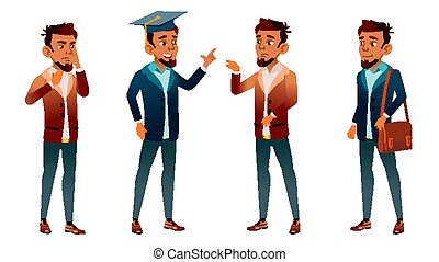 Arab, Muslim Teen Boy Poses Set Vector. Pretty, Youth. Exam, College, University. For Postcard, Announcement, Cover Design. Isolated Cartoon Illustration