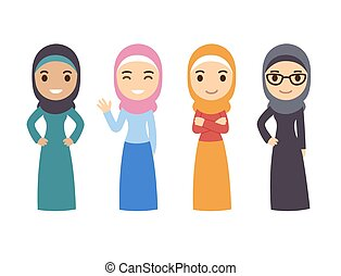 Muslim women set. Cute cartoon Arab girls in traditional dress. Businesswomen collection.