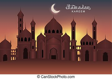 Arab night holy city mosque. Ramadan Kareem