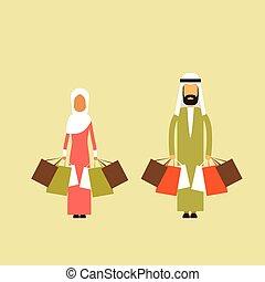 arab, para, muslim, obsadzać kobietę, utrzymywać, shopping torby