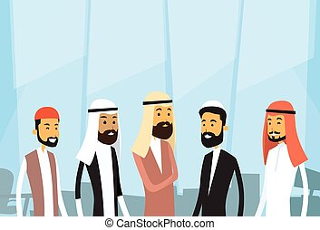 Arab People Businessman Group Traditional Clothes Arabic Business Office