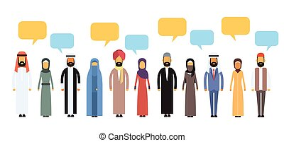 Arab People Group Chat Bubble Communication Concept, Muslim Talking