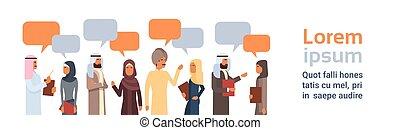 Arab People Group Chat Bubble Communication Concept Muslim Talking Arabic Social Network