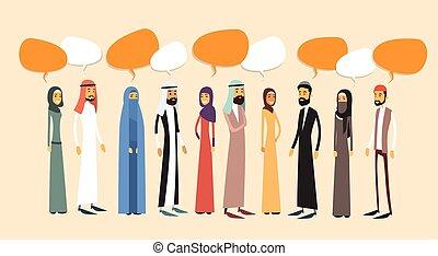 Arab People Group Chat Bubble Communication Concept