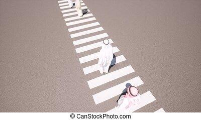 Arab people walk on road zebra 4k