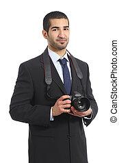 Arab professional photographer holding a dslr digital camera