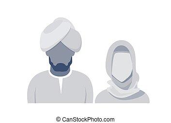 Arab Profile Icon Male And Female Avatar Man Woman, Muslim Cartoon Couple Portrait