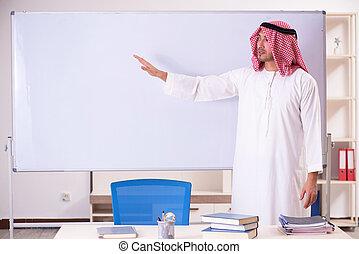 arab, przód, whiteboard, nauczyciel