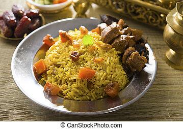 arab, rizs, noha, bárány, népszerű, ramadan, élelmiszer