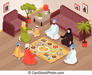 arab, rodzinna mąka, ilustracja
