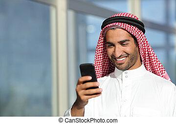 arab, saudi, affärsman, arbete, med, hans, ringa