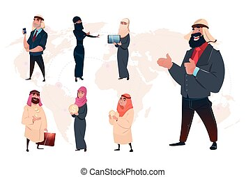 Arab Saudi Business Man Set World Map Background
