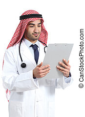 Arab saudi doctor reading a medical history