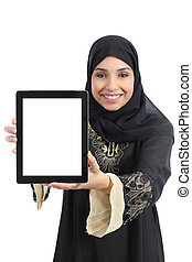 Arab saudi emirates happy woman showing an app in a tablet screen