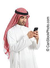 Arab saudi emirates man busy using a smart phone