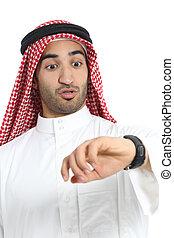 Arab saudi emirates man looking his watch too late