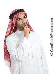 arab, saudi, emirates, man, tänkande, och, titta i sidled