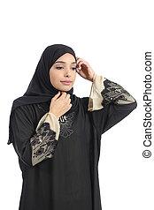 Arab saudi emirates woman dressing putting a scarf