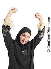Arab saudi emirates woman euphoric raising arms isolated on...