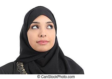 Arab saudi emirates woman face looking at side
