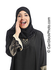 Arab saudi emirates woman shouting with hand on mouth