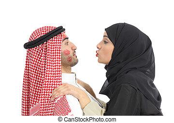 Arab saudi obsessed woman kissing a man