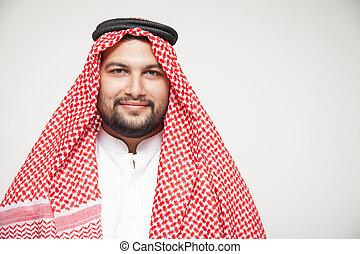 Arab sheikh wearing headscarf portrait isolated on white background