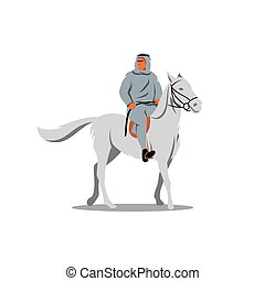 Arab sheikhs on a white horse. Vector Illustration. - The...