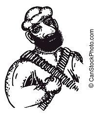 arab soldier - hand drawn, cartoon, sketch illustration of...