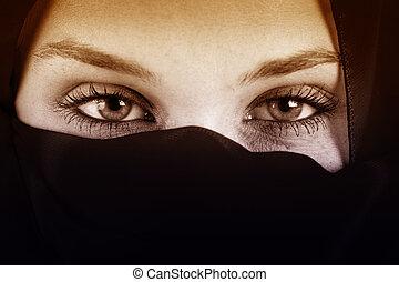arab, szemek, nő, függöny