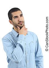 arab, tillfällig, man, tänkande, och, se, ovanför