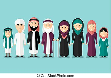 arab, vektor, muzulmán, lakás, family., betűk