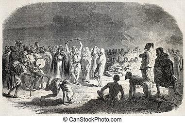Arab wedding - Old illustration of an Arab wedding...