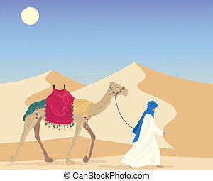 arab with camel - an illustration of an arabic man leading a...