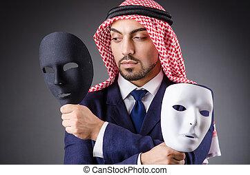 Arab with masks in dark studio