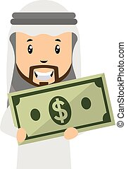 Arab with money, illustration, vector on white background.