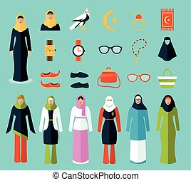 Arab woman accessories and clothes icons