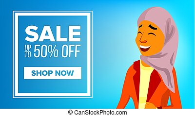 Arab Woman Banner Vector. Middle Eastern. Middle Eastern People. For Postcard, Cover, Placard Design. Illustration