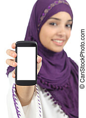 Arab woman displaying an app blank smart phone screen