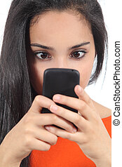 Arab woman obsessed with phone
